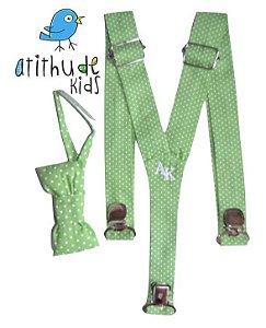 Kit suspensório + gravata borboleta - Poá Verde Claro