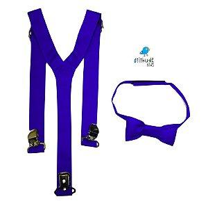 Kit suspensório + gravata borboleta - Azul Royal
