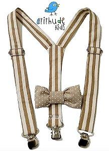 Kit suspensório + gravata borboleta - Bege Café