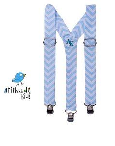 Suspensório Listrado Azul bebê