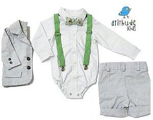 Conjunto Vitor  - Cinza Risca de Giz (blazer e bermuda)