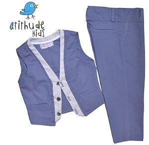 Conjunto Esporte Fino João Lucas - Azul Petróleo (calça e colete)