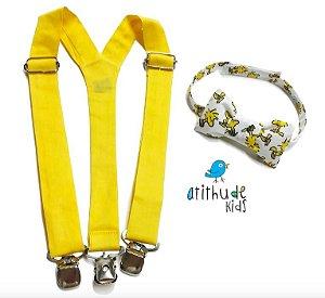 Kit suspensório + gravata borboleta - Amarelo Woodstock