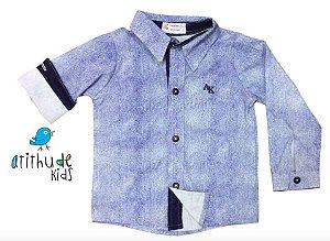 Camisa André - Azul Marinho Estampa Jeans