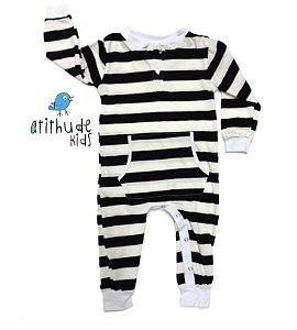 Pijama Gugu - Listrado (preto e off-white)