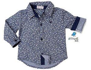 Camisa Caio - Estampada Azul marinho