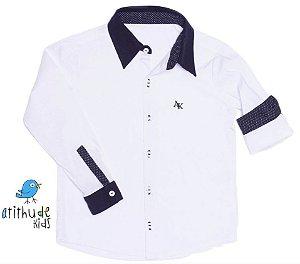 Camisa Benjamin - Branca com detalhes em poá preto