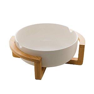 Saladeira de Porcelana Com Suporte de Bambu Branco Matt