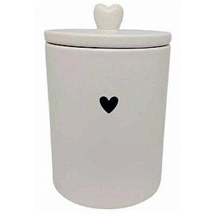 Pote Decorativo de Cerâmica Heart Branco 15 cm