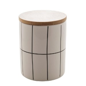 Pote Decorativo de Cerâmica Com Tampa de Bambo Turim Branco 12,5 cm