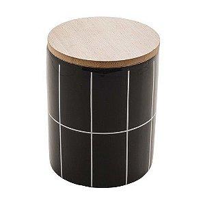 Pote Decorativo de Cerâmica Com Tampa de Bambo Turim Preto 12,5 cm
