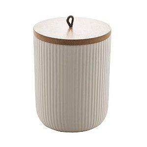 Pote Decorativo de Cerâmica Com Tampa de Bambo e Puxador Lines Branco 12,5 cm