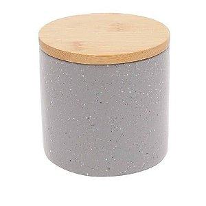 Potiche Decorativo de Cerâmica Granilite Cinza com Tampa de Madeira 10 cm