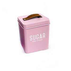 Lata Para Açúcar Rosa com Puxador Tipo Couro