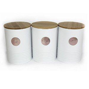 Trio de Latas de Ferro Branca e Rose com Tampa de Bambu