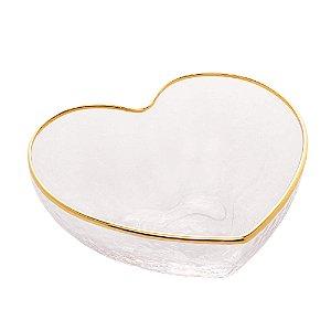 Bowl de Vidro Coração com Borda Dourada 15 cm