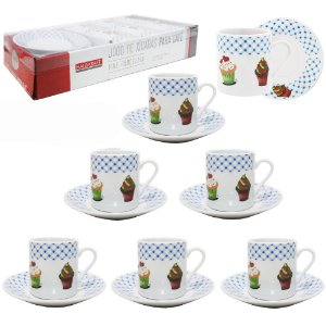 Jogo de Xícaras de Porcelana Para Café CupCake