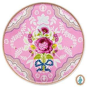 Prato p/ Bolo Rosa – Floral – PiP Studio®