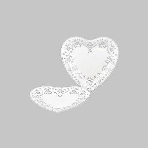 Prato de Sobremesa de Coração com Renda - Médio 18 cm