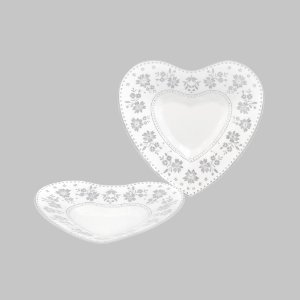 Prato Fundo de Coração com Renda - Médio 22 cm