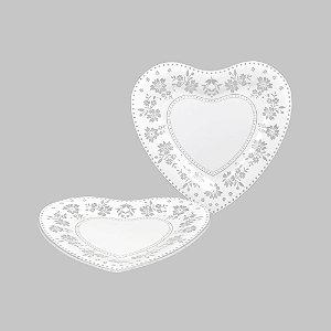 Prato de Coração com Renda - Médio 22,5 cm