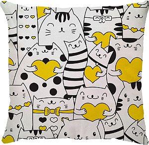 Capa de Almofada Neo Gato Coração Amarelo