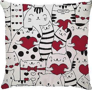 Capa de Almofada Gato Coração Vermelho
