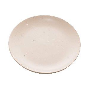 Conjunto de 02 Pratos Sobremesa de Cerâmica Granilite Marfim