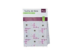 Toalha de Mesa Retangular Galinha Xadrez Rosa