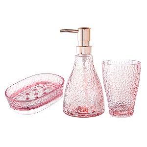 Kit com 3 peças para Banheiro Sodo-Cálcico Rosa