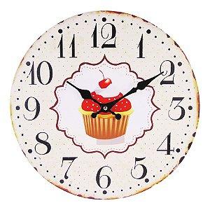 Relógio de Parede - Cupcake Cereja