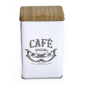 Lata Para Café com Tampa Tipo Madeira
