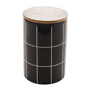 Pote Decorativo de Cerâmica Com Tampa de Bambo Turim Preto 15 cm