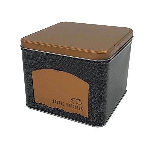 Lata Porta Cápsulas Metal Coffee Beans Cobre