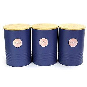 Trio de Latas de Azul Marinho e Rose com Tampa de Bambu