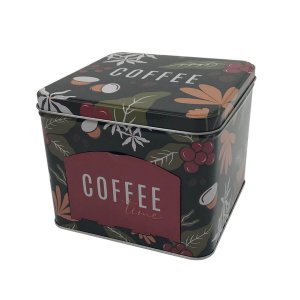 Lata Porta Cápsulas Metal Coffee Flowers Preta
