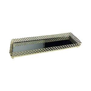 Bandeja de Metal Retangular Arch Border Dourado 28 cm