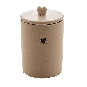 Pote Decorativo de Cerâmica Heart Bege 15 cm