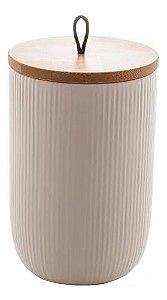 Pote Decorativo de Cerâmica Branco Com Tampa de Bambo e Puxador Lines 15 cm