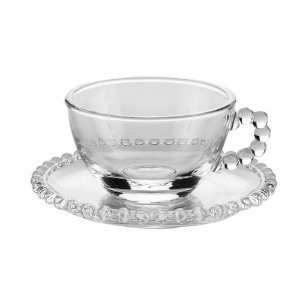 Xícara de Cristal de Chumbo Para Chá Com Pires Bolinhas Pearl - 200 ml