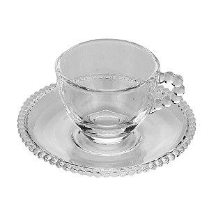 Xícara de Cristal de Chumbo Para Café Com Pires Bolinhas Pearl - 100 ml