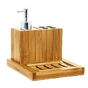Kit para Pia de Banheiro Bambu 4 Peças