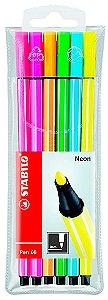Stabilo Pen 68 Estojo com 6 Neon