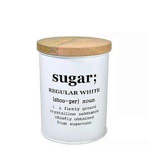 Lata Para Açúcar com Tampa em Madeira