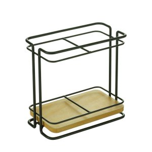 Porta Talheres Metal Wood Rack Preto