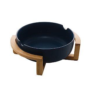 Saladeira de Porcelana Com Suporte de Bambu Azul Matt