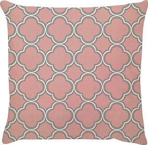 Capa de Almofada Treliça Rosa e Cinza