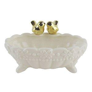 Banheira Pássaro Dourado Porcelana