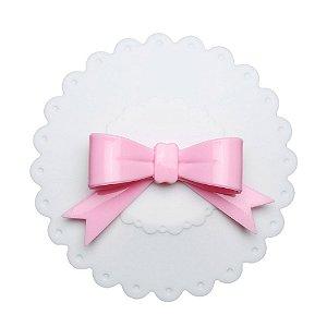 Tampa Silicone Branca com rosa - Donna Coisinha