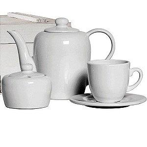 Conjunto de Chá 14 peças de Cerâmica Branco - Scalla